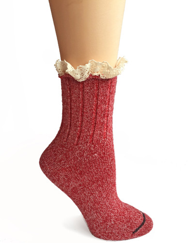 Lace Trimmed Heathered Boot Socks Side