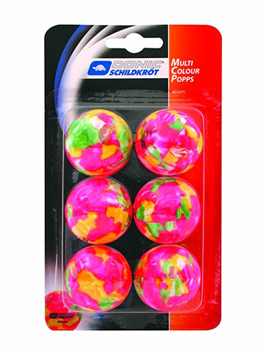 DONIC Schildkröt Multicolor Popps Balls pack of 6 Ping Pong Depot Table Tennis Equipment