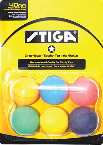 STIGA 1* Multicolour Balls (pack of 6) - Bulk Price