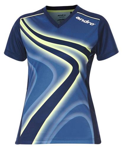 andro FERRIS Women V-Neck Blue/Lime Shirt