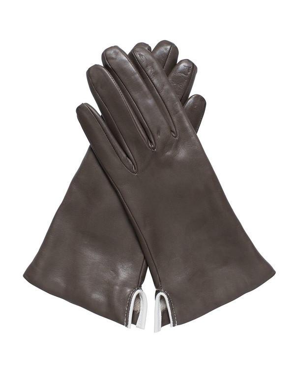 Bruno Carlo 32bc Lambskin Gloves in Brown with Cream Piping