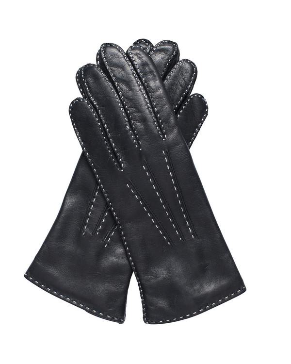 Bruno Carlo 46bc Lambskin Gloves in Black with Cream Stitching