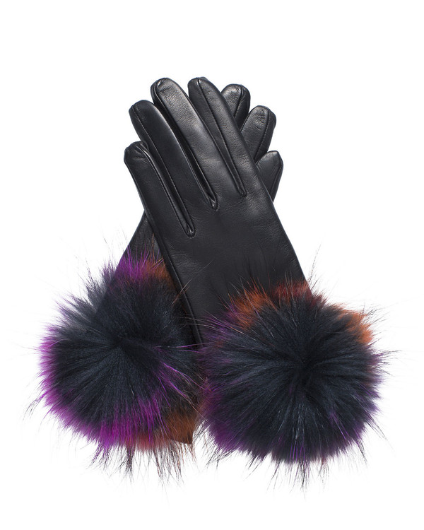 Bruno Carlo 32bc Lambskin Gloves in Black with Pom-Pom
