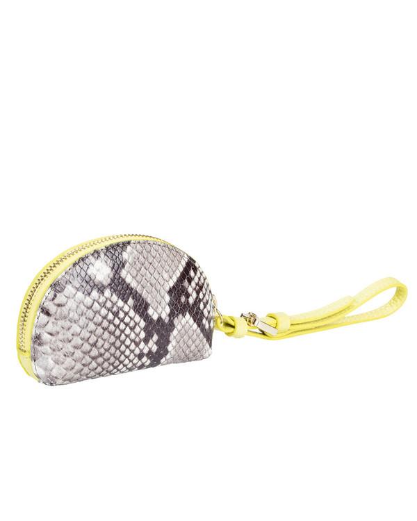 Gianni Chiarini Coinpurse Leather Bag Yellow Snake