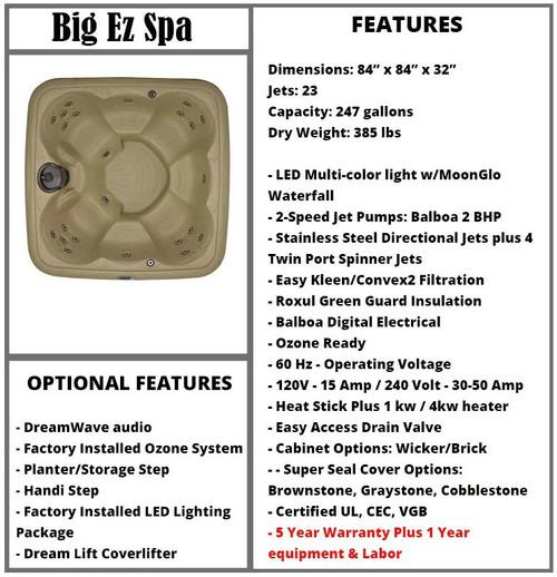 Big EZ Spa Spec Sheet