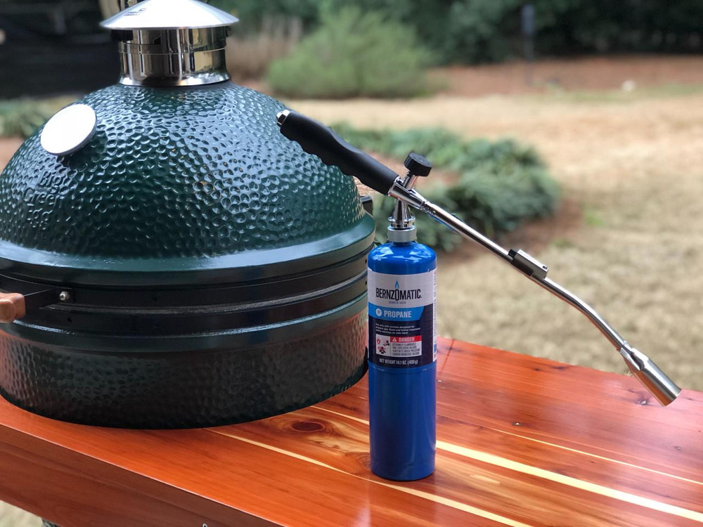 Grill Torch and JJGeorge Big Green Egg table