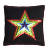 Sequin Rainbow Star cushion. Red, orange, yellow, green, blue and purple appliqué star