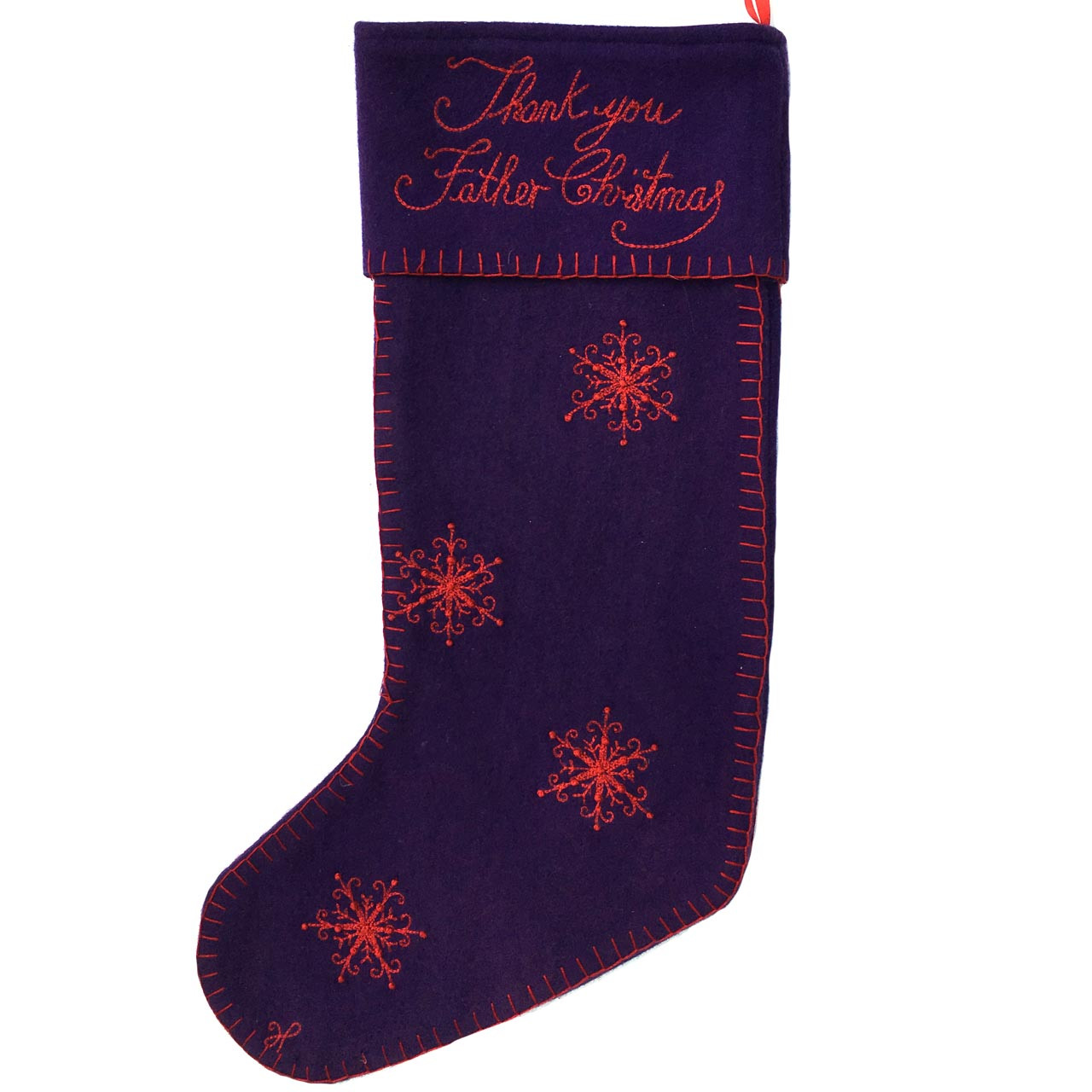 jan constantine thank you father christmas stocking purple - Purple Christmas Stocking