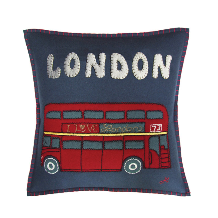 Personalised London Bus Cushion (up to 8 letters)