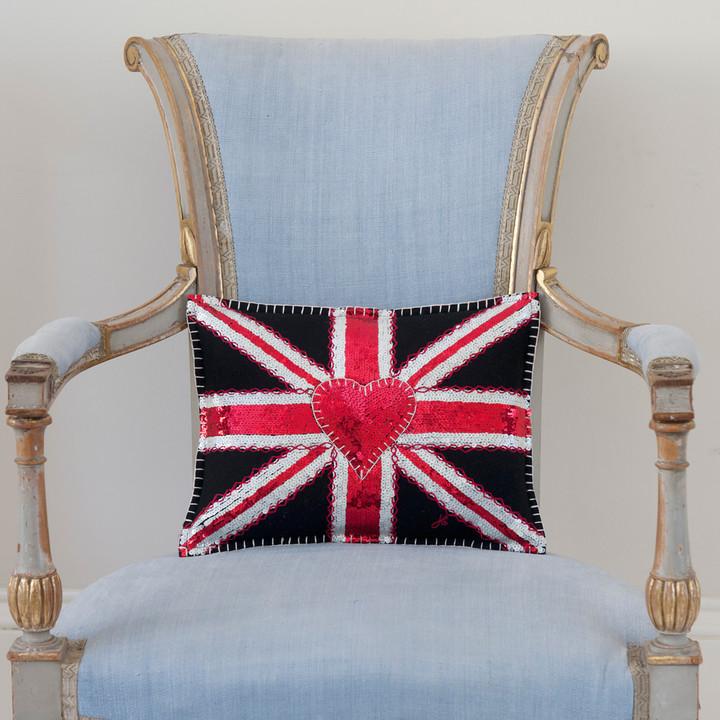 Union Jack Sequin Cushion