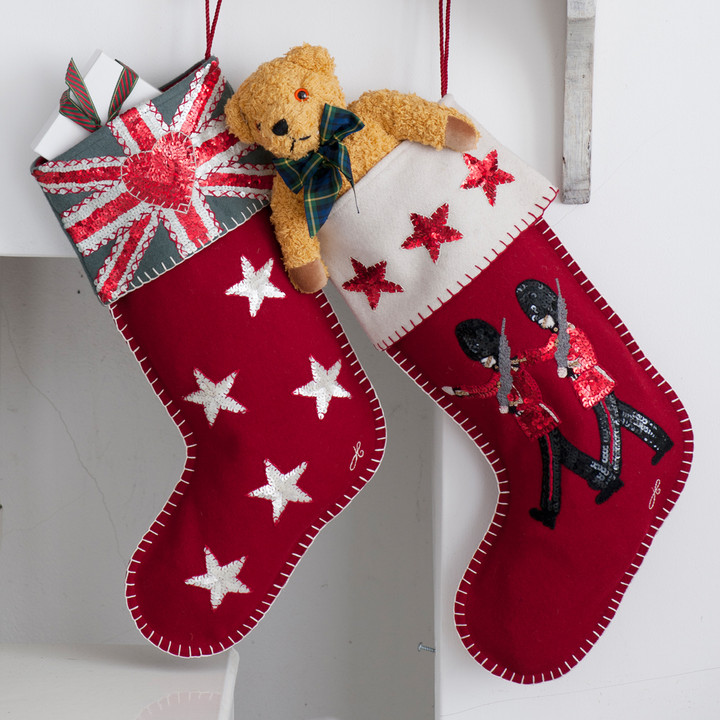 Sequin Christmas Stocking with Marching Guards and Stars.