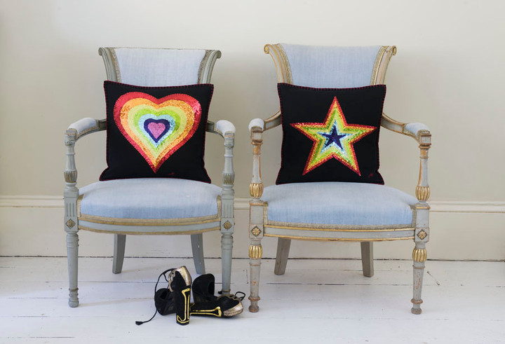 Glam Rock rainbow sequin heart and star cushions
