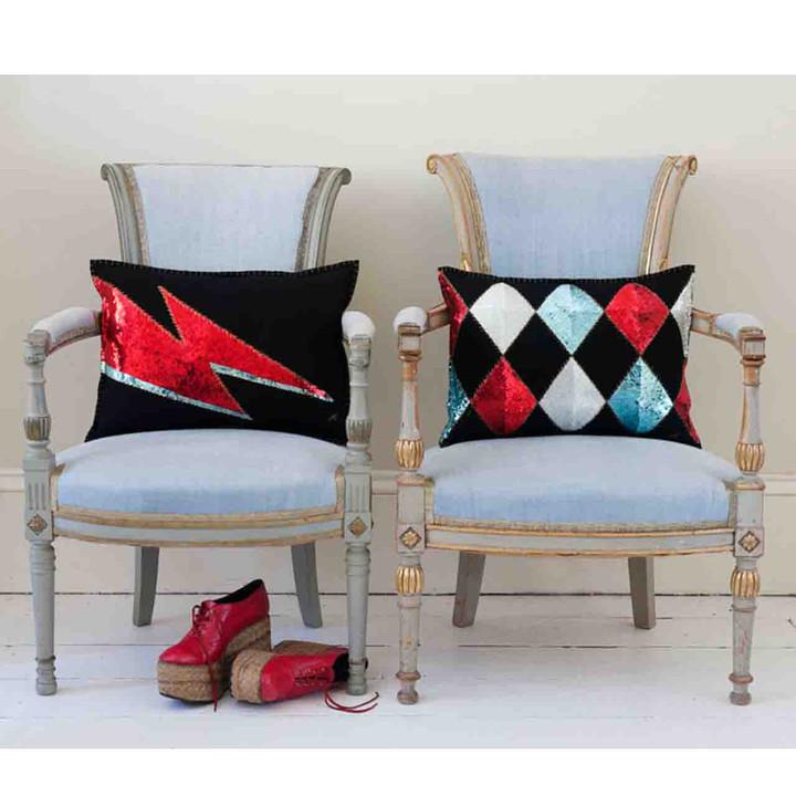 1970's inspired Glam Rock 'Ziggy' sequin cushion in black felt wool.