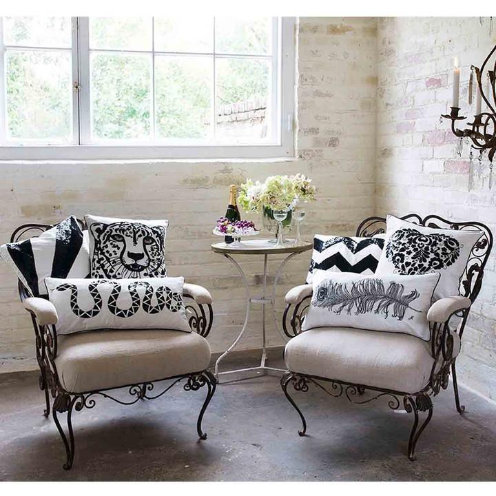 Sequin Velvet Cheetah Cushion (Cream)