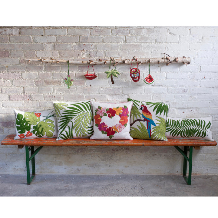 Tropical Hibiscus Cushion (Cream)