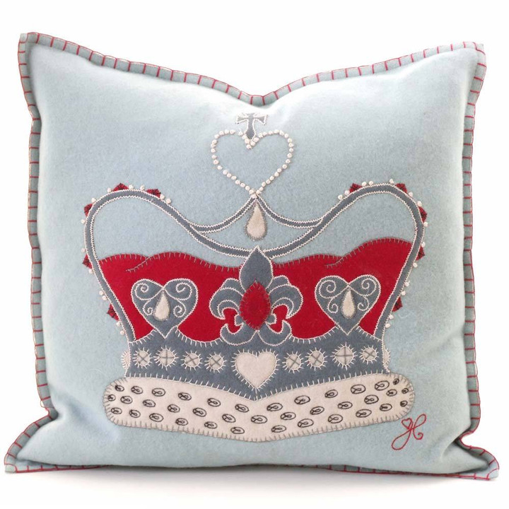 handmade designer crown cushion luxury duck egg blue cushion. Black Bedroom Furniture Sets. Home Design Ideas