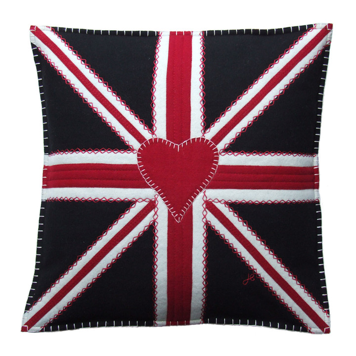 Union Jack square cushion, black, red and cream wool