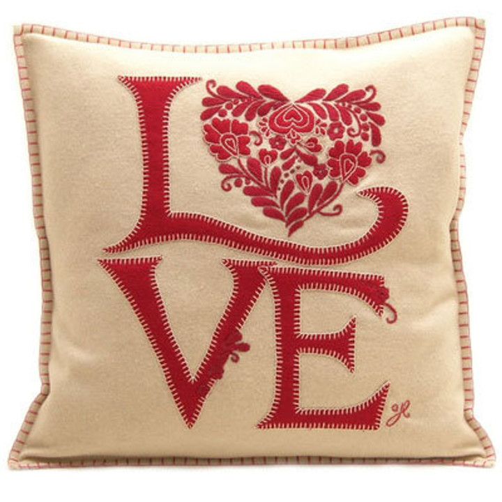 Romany Love cushion, designer, cream and red, wool