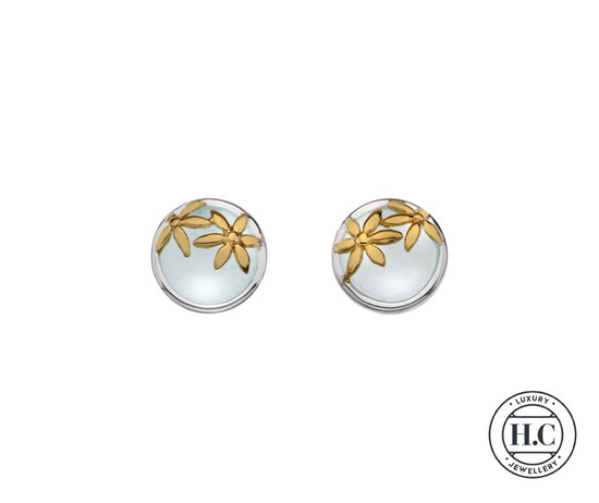 Sterling Silver Stud Earring Aqua Chalcedony Stone with Gold Floral Detail