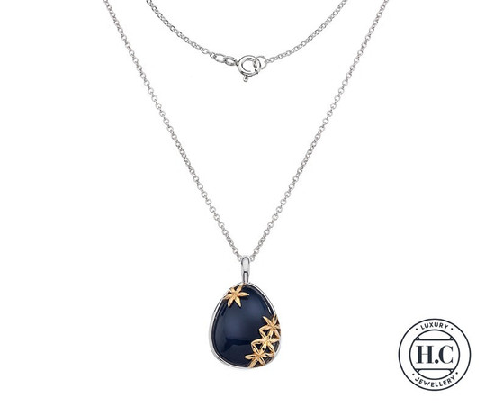 Silver Pendant Onyx Stone with Gold Floral Detail