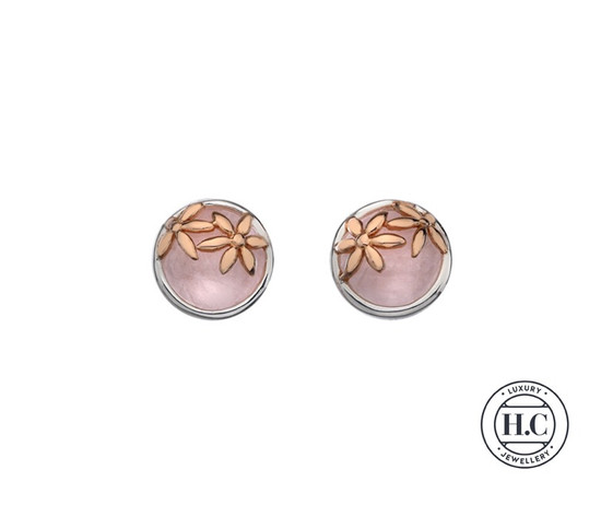 Sterling Silver Drop Earring Rose Quartz stone with Rose Gold Detail