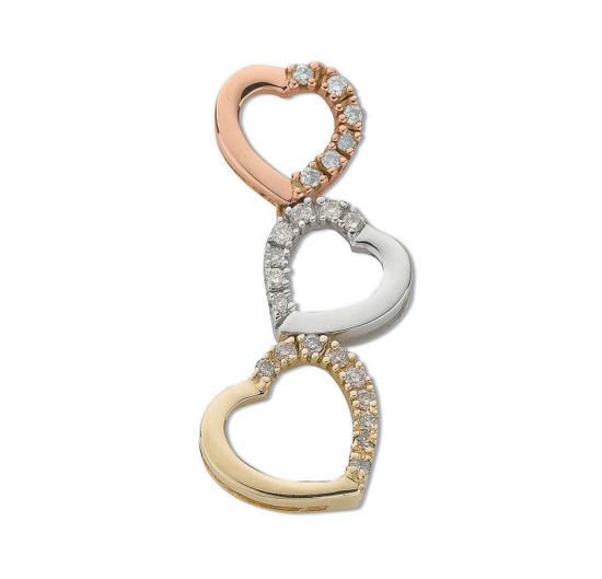 9ct Yellow White and Rose Gold Diamond Heart Trilogy Pendant