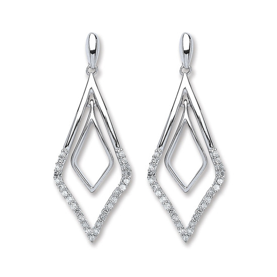9ct White Gold 0.15ct Diamond Drop Art Deco Pave Set Earrings