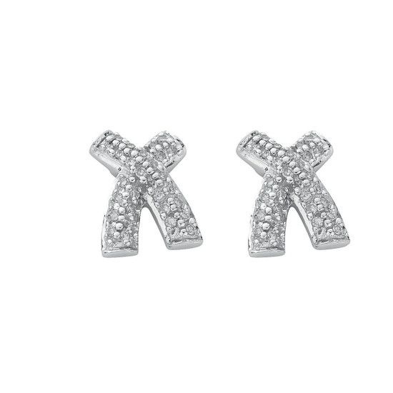 9ct White Gold 0.25ct Diamond Kiss Studs