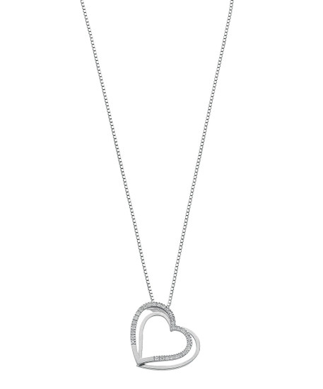 9ct White Gold 0.12ct Diamond Double Heart Pendant with 18inch Chain