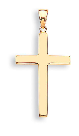 9ct Yellow Gold Plain Hollow Cross