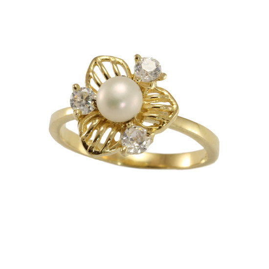 9ct gold over Silver - Pearl and CZ ring