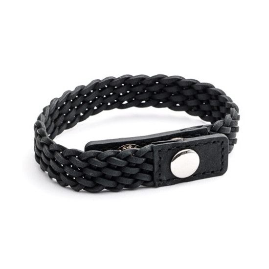 Tribal Steel XO Black Braided Leather Bracelet with Adjustable Stainless Steel Stud Clasp