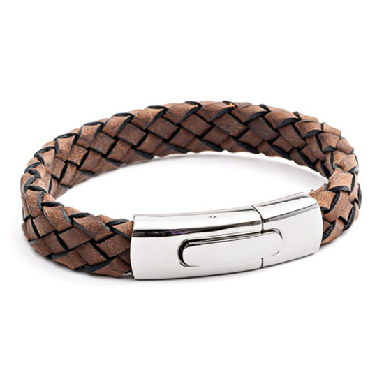 Tribal Steel XO Brown Black Edge Plaited Leather Bracelet with a Matt Stainless Steel Rocker Clasp