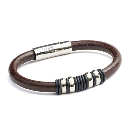 Tribal Steel XO Italian Round Leather Bracelet with Stainless Steel Lever Clasp and a Banded design
