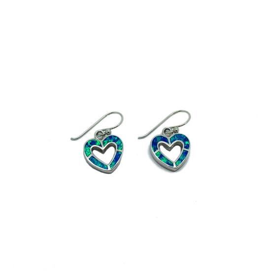 Blue Opalique Heart Earrings