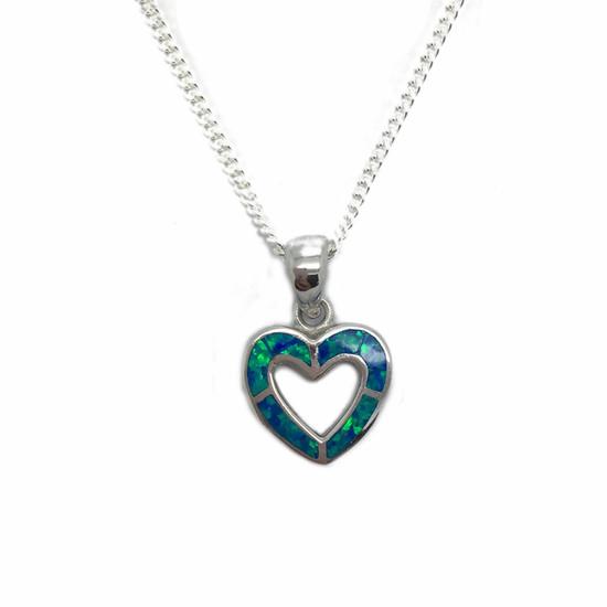 Opalique Blue Open Heart on Chain - Ophir Jewellery