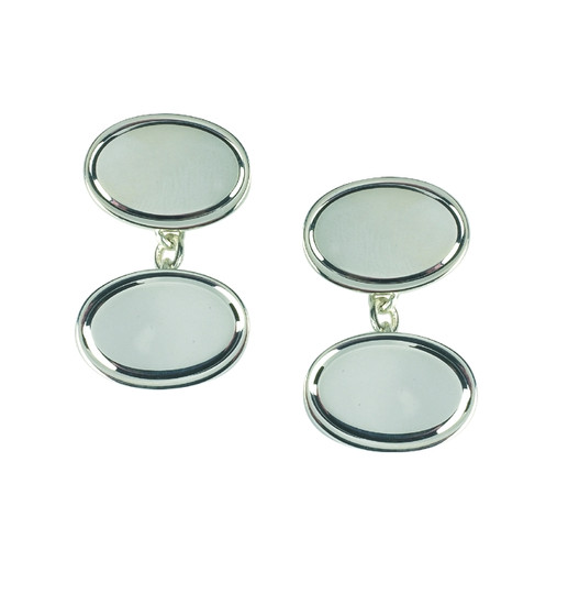 Sterling Silver Cufflinks Oval with Bevel Detail