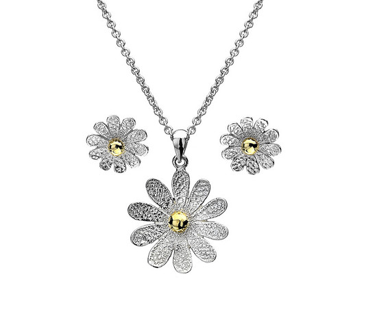 Sterling Silver & 9ct Gold 2 Tone Daisy Set