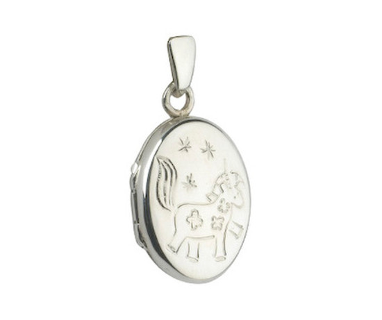 Sterling Silver Small Oval Locket with Unicorn Engraving - Girls