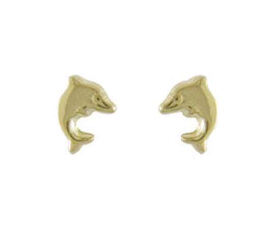 Lovely yellow gold dolphin earrings. Ideal for the swimmer in your family !
