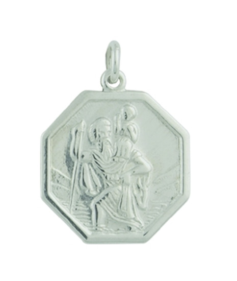 9ct White Gold Medium Octagonal St Christopher - 3 grams