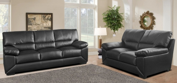 Palma 3 and 2 Seater Black Leather Sofas
