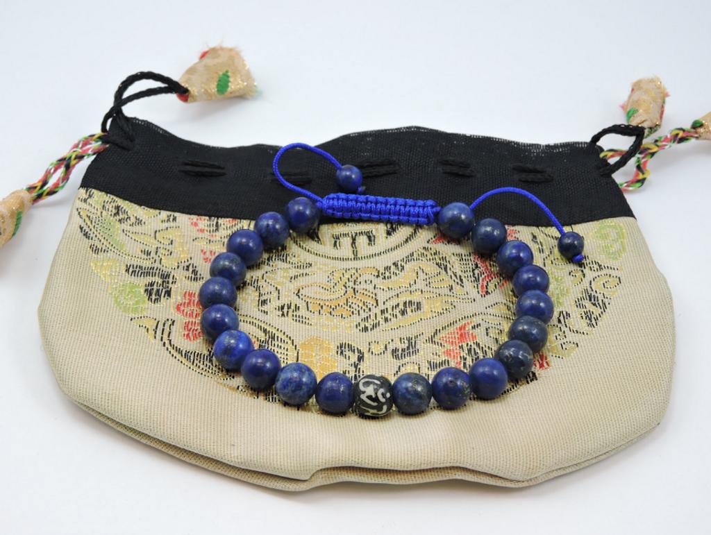 Lapis Wrist Mala/Yoga Bracelet with Om Mani Yak Bone Spacer for Meditation
