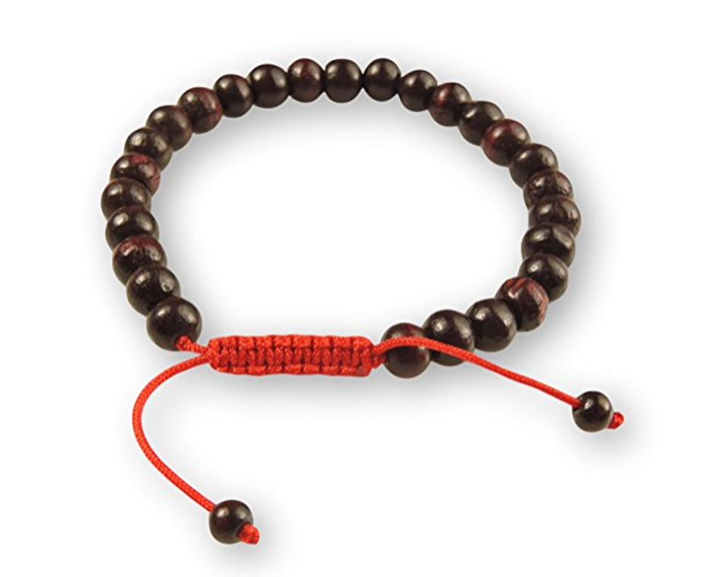 Rosewood Tibetan Wrist Mala/Bracelet for Meditation - Red String