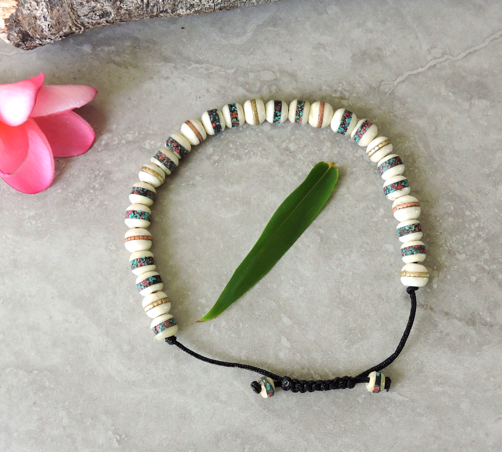 Tibetan Embedded Yak Bone Medicine Healing Wrist Mala for Meditation - White