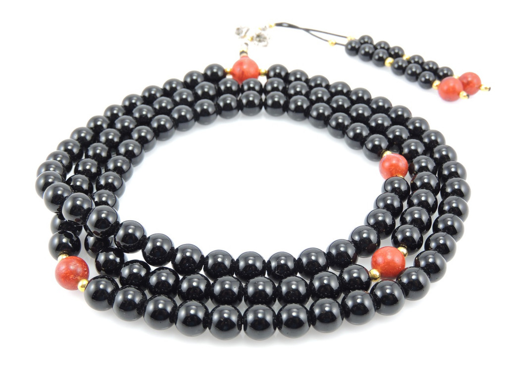 Dramatic Black Onyx with Coral and Dorjee