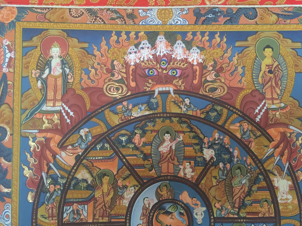 Hand painted Wheel of Life Thangka painting with Silk Brocade