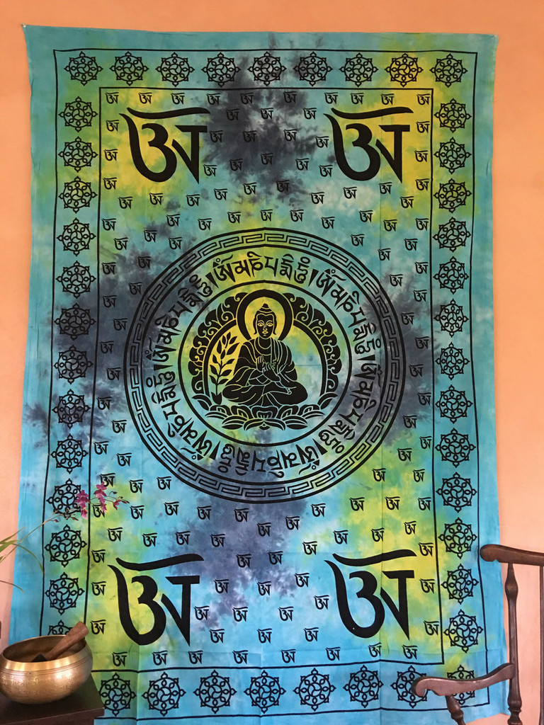 Buddha OM Tie-dyed Tapestry- Light Turquoise, Blue and Yellow