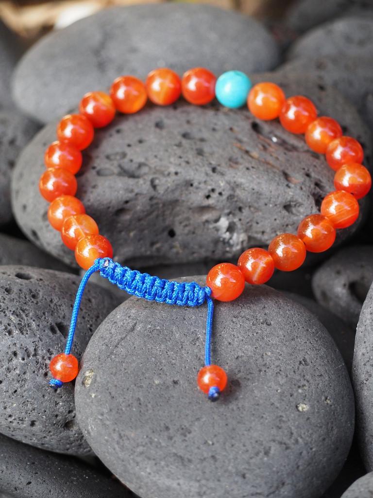 Carnelian Wrist Mala/ Yoga Bracelet Bracelet for Meditation with Turquoise Spacer