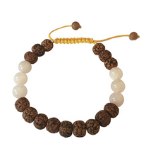 Rudraksha and Rose Quartz Tibetan Wrist Mala Bracelet